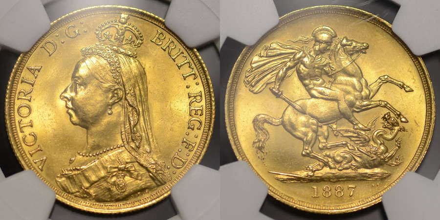 VICTORIA 1887 GOLD TWO POUNDS, GRADED MS 64
