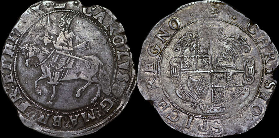 CHARLES I SILVER HALFCROWN, GROUP III
