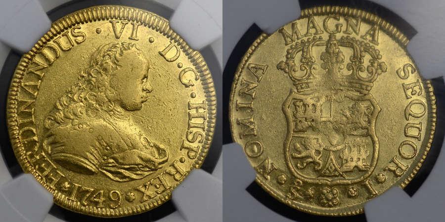 SPAIN, FERDINAND VI, 1749 GOLD 4 ESCUDO FROM THE SHIPWRECK OF NUESTRA
