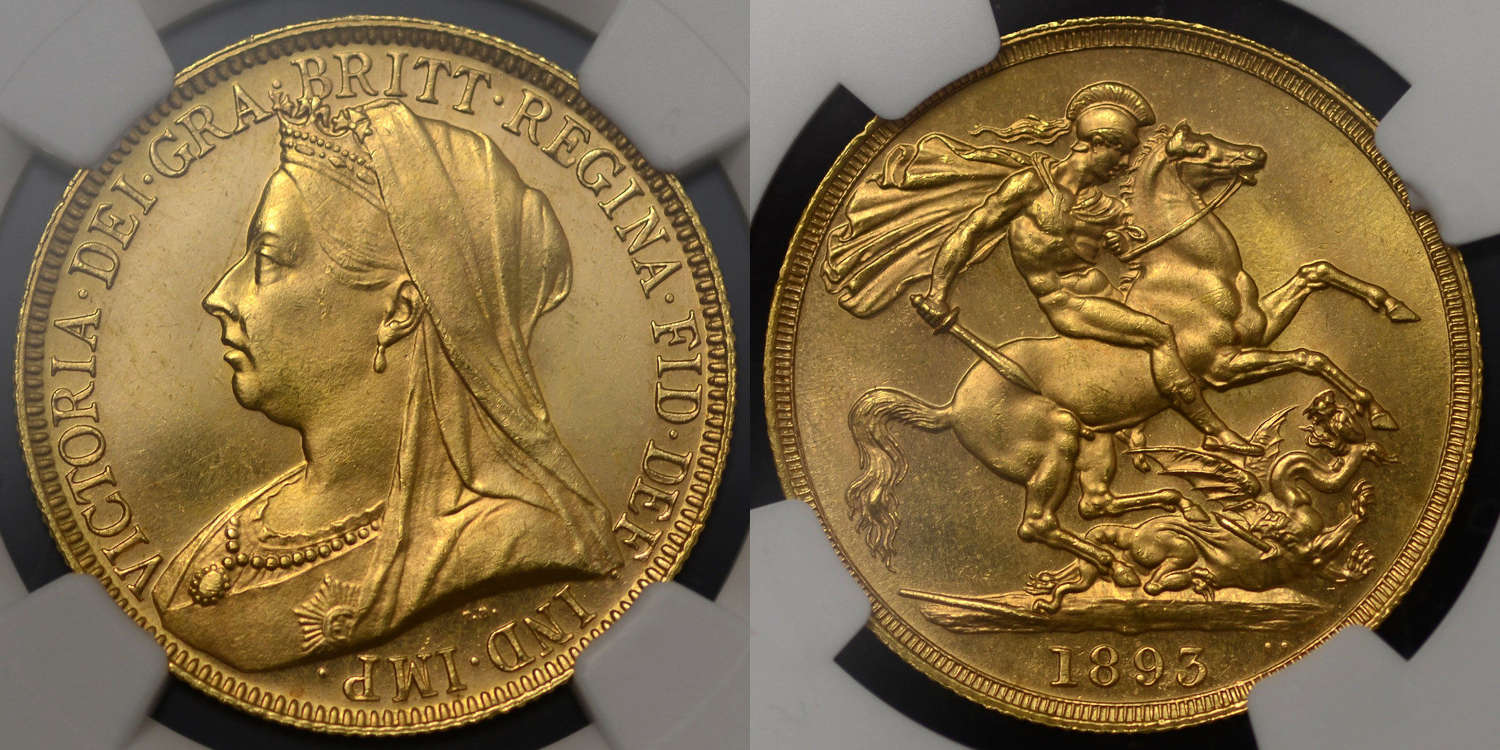 VICTORIA 1893 GOLD TWO POUNDS, GRADED MS 63