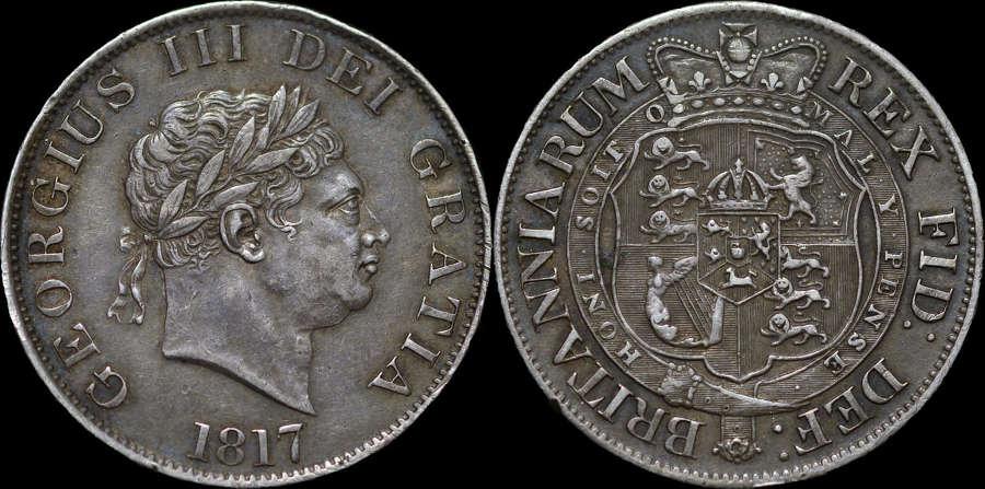 GEORGE III 1817 SILVER HALFCROWN