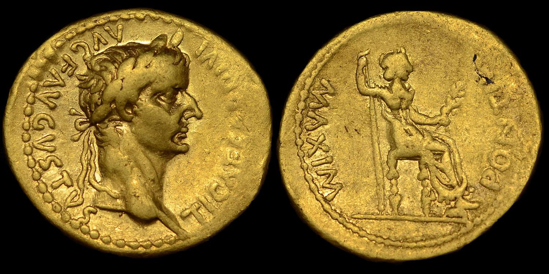 TIBERIUS, GOLD AUREUS, MINT OF LUGDUNUM