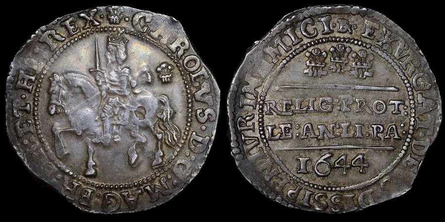 CHARLES I BRISTOL MINT HALFCROWN, 1644 EX. H.M. LINGFORD COLLECTION