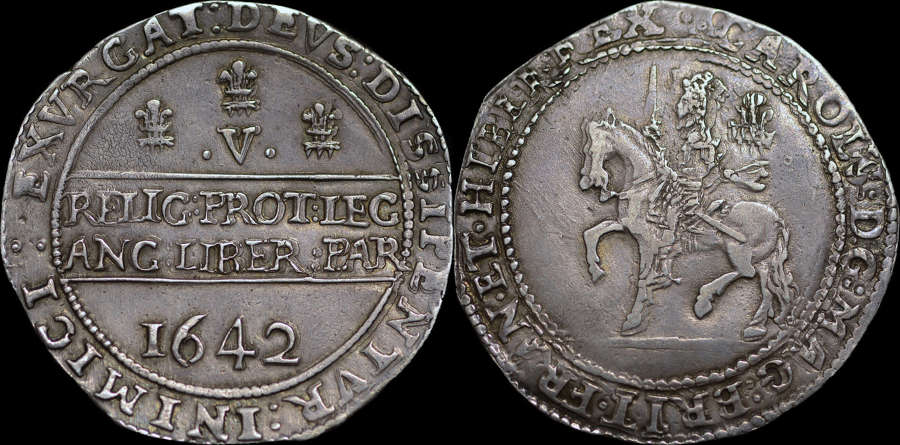 CHARLES I 1642 CROWN, OXFORD MINT
