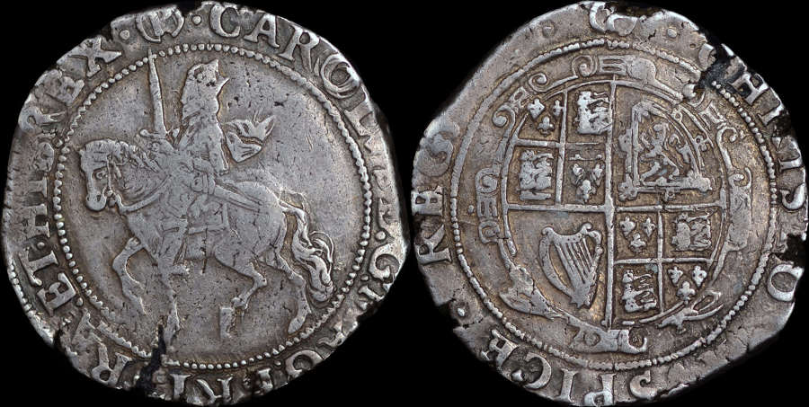 CHARLES I SILVER HALFCROWN, GROUP III UNDER PARLIAMENT