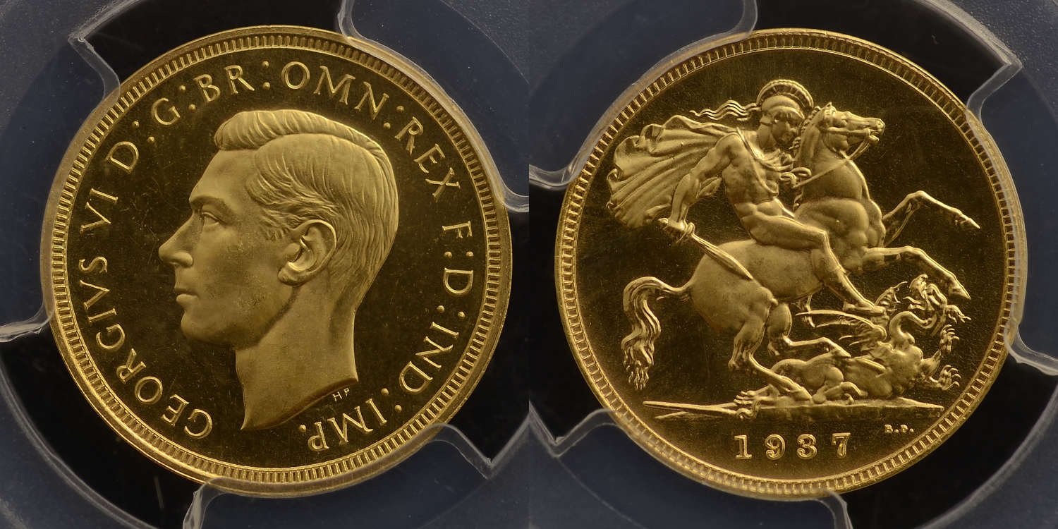 GEORGE VI, 1937 PROOF GOLD SOVEREIGN PR66 CAMEO