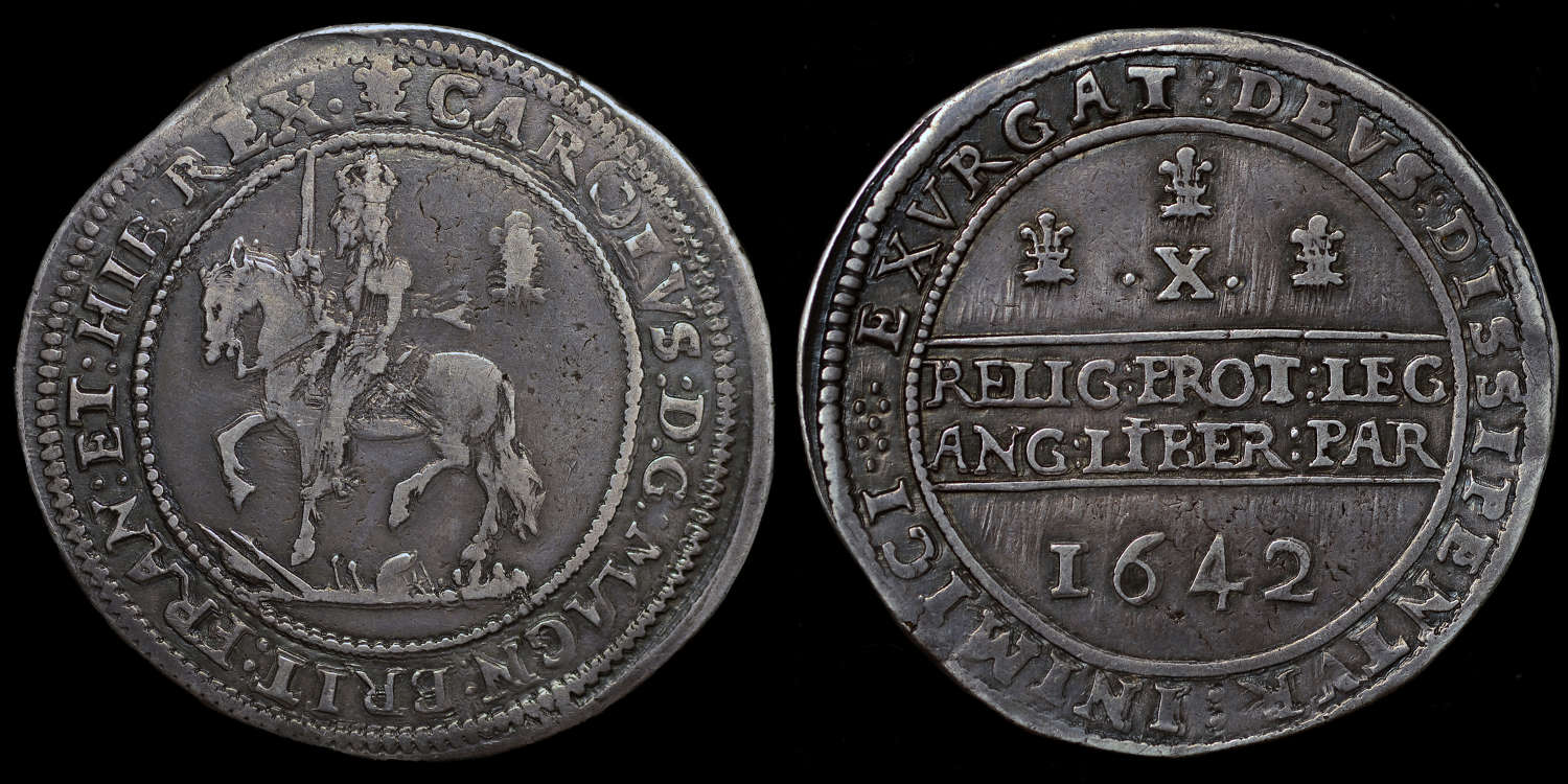 CHARLES I, 1642 SILVER HALF POUND OF OXFORD MINT