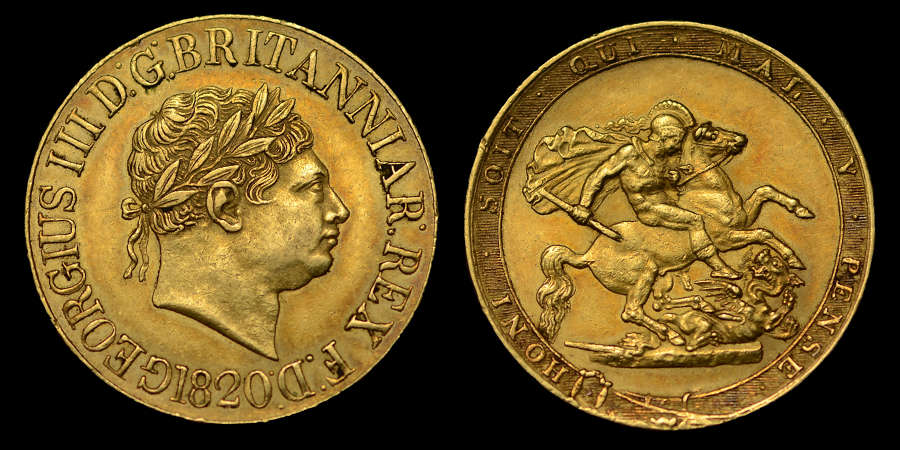 GEORGE III, 1820 SOVEREIGN, OPEN 2