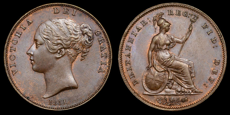 VICTORIA, YOUNG HEAD PENNY, 1851