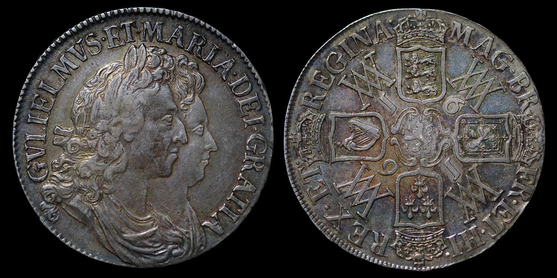 WILLIAM & MARY 1691 CROWN, I OVER E IN LEGEND