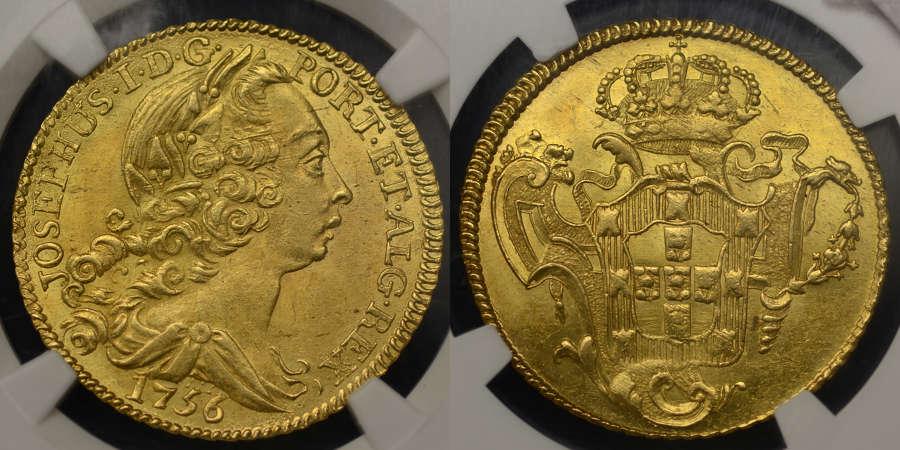 PORTUGAL, JOSE' I, 1756 1 PECA (6400 REIS) SLABBED & GRADED MS 64