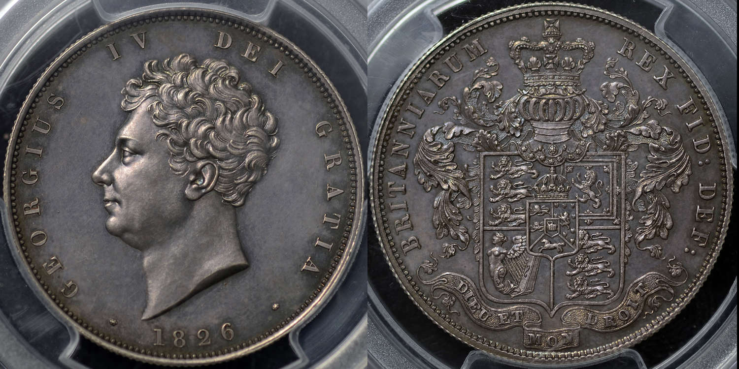 GEORGE  IV 1826 PROOF HALF-CROWN, SLABBED & GRADED PR64 BY PCGS