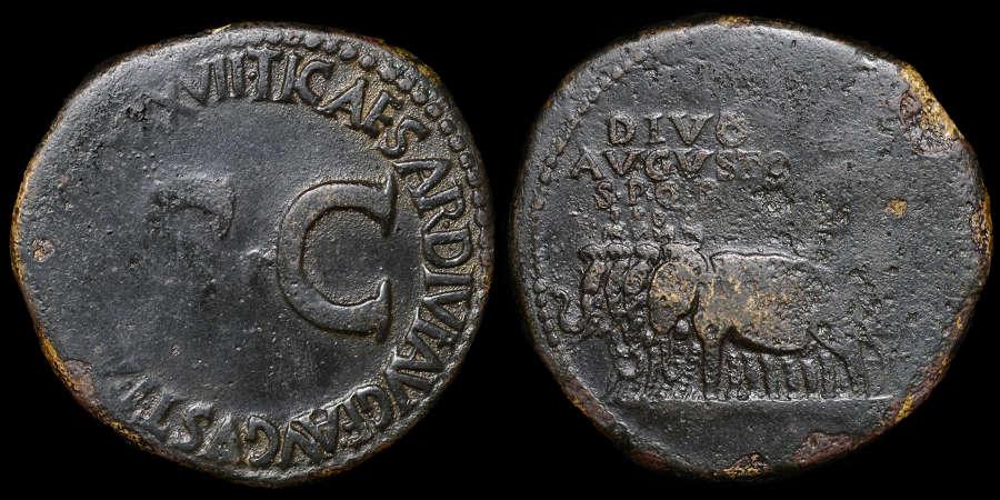AUGUSTUS, SESTERTIUS, (UNDER TIBERIUS)