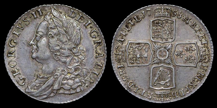 GEORGE II 1758 SHILLING