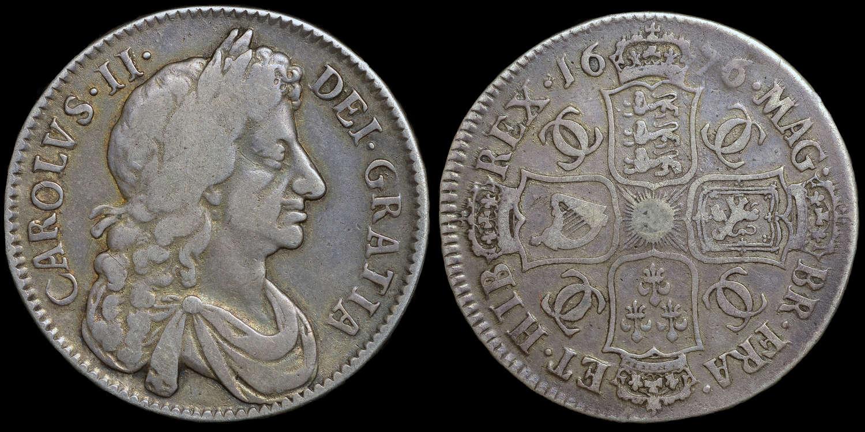 CHARLES II 1676 HALFCROWN