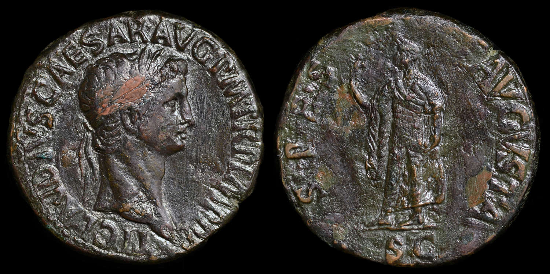 CLAUDIUS BRASS SESTERTIUS