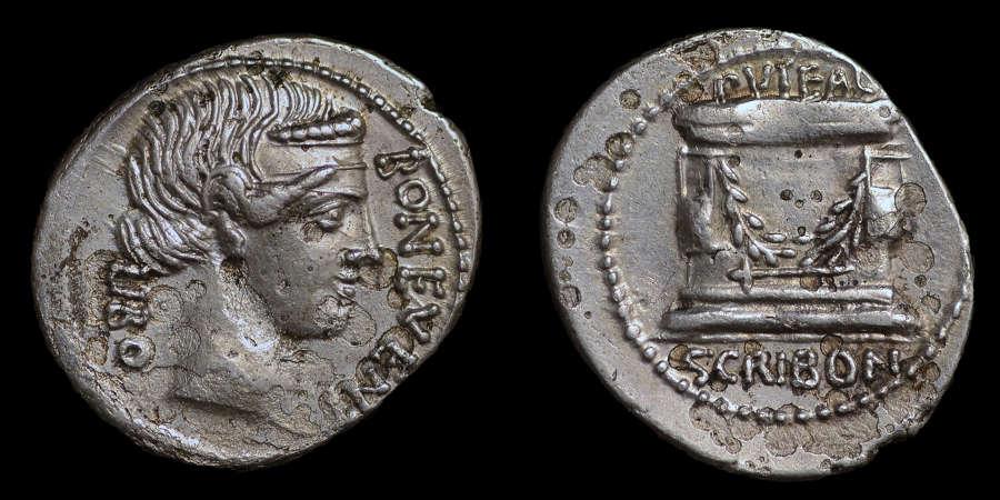 ROMAN REPUBLICAN COINAGE, L. SCRIBONIUS LIBO, DENARIUS