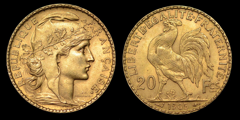 FRANCE, 1905 GOLD TWENTY FRANCS