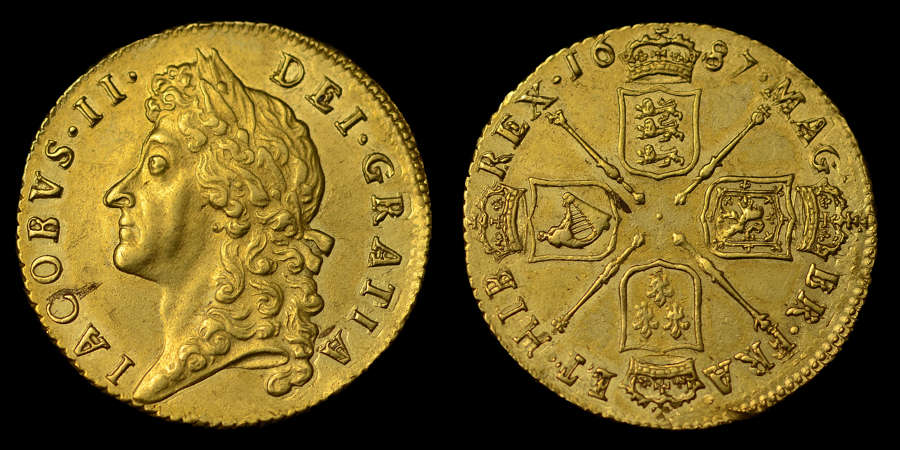 JAMES II 1687 GOLD GUINEA, SECOND BUST