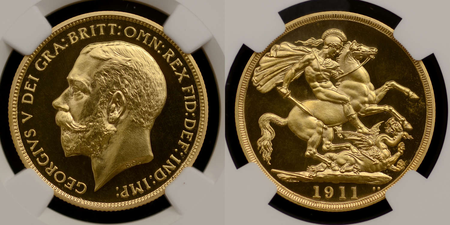 GEORGE V 1911 PROOF GOLD TWO POUNDS, PF 64 CAMEO