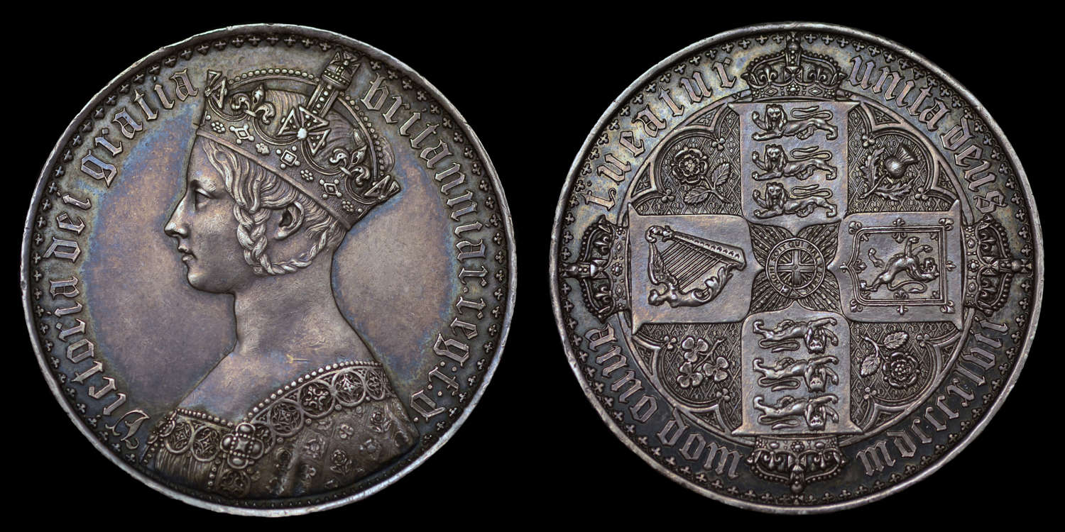 VICTORIA 1847 PROOF GOTHIC CROWN, PF58