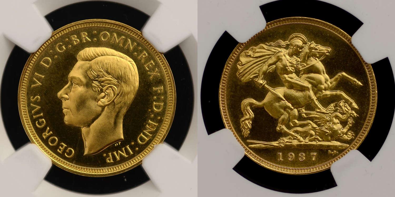 GEORGE VI, 1937 PROOF GOLD SOVEREIGN PR66
