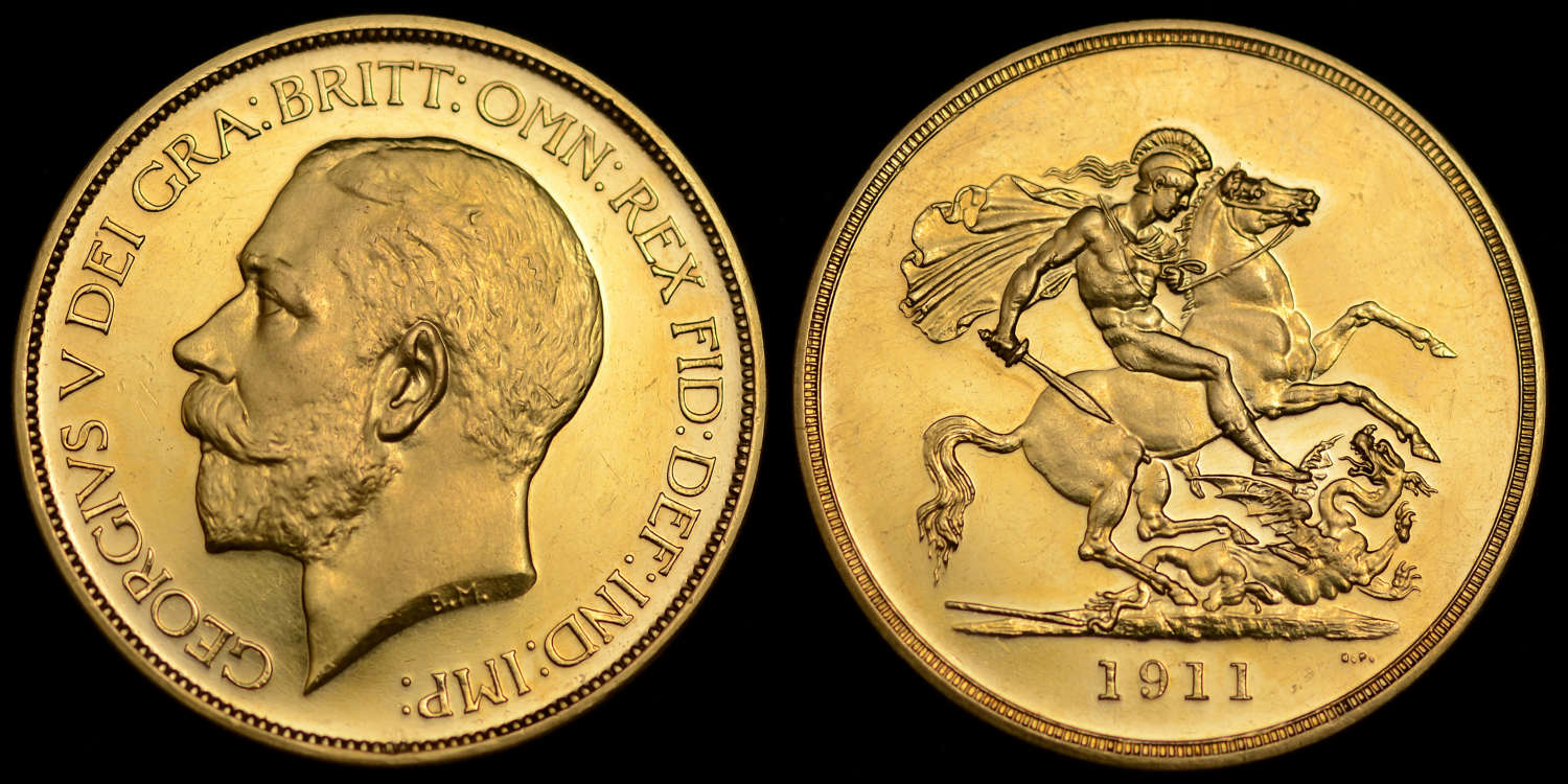 GEORGE V 1911 GOLD PROOF FIVE POUNDS