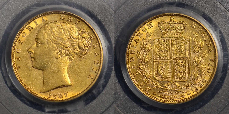 VICTORIA 1887 MELBOURNE SHIELD BACK SOVEREIGN