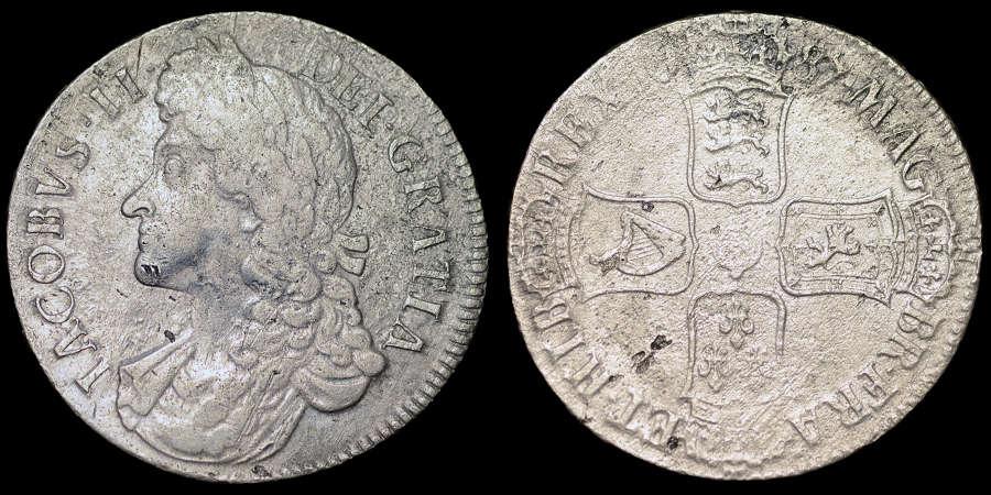 JAMES II, 1687 CROWN FROM HMS ASSOCIATION WRECK