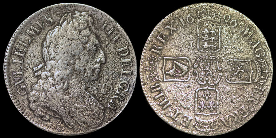 WILLIAM III, 1696 SILVER CROWN FROM HMS ASSOCIATION WRECK