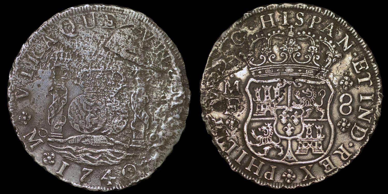 HOLLANDIA SHIP WRECK, 1740 8 REALES, MEXICO MINT