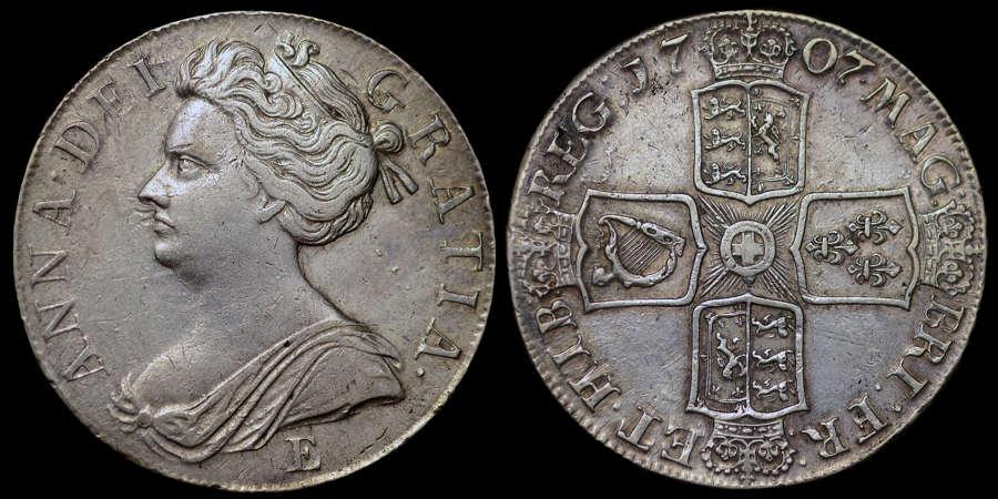 ANNE 1707 SILVER CROWN, EDINBURGH MINT