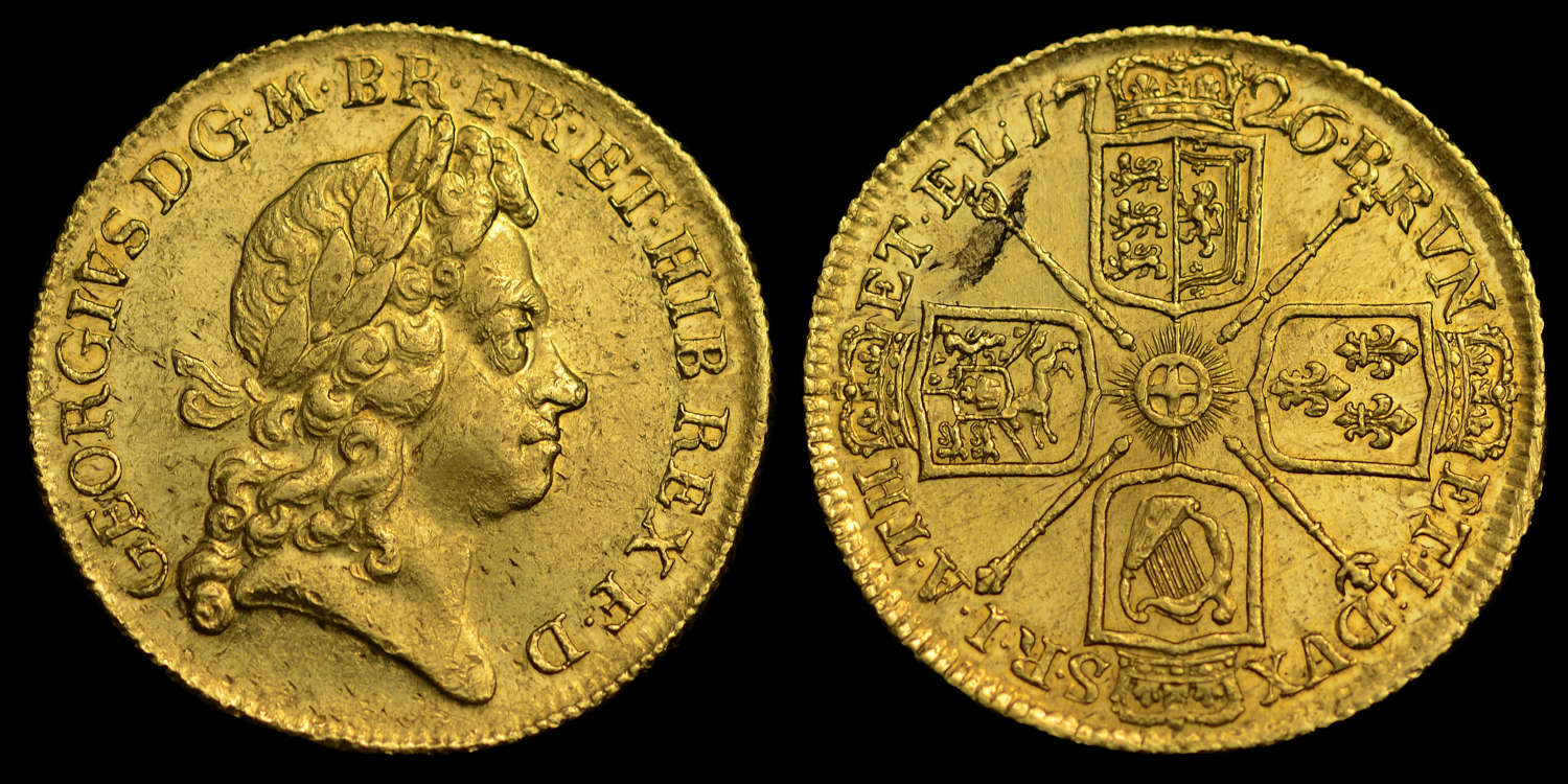 GEORGE I 1726 GOLD TWO GUINEAS