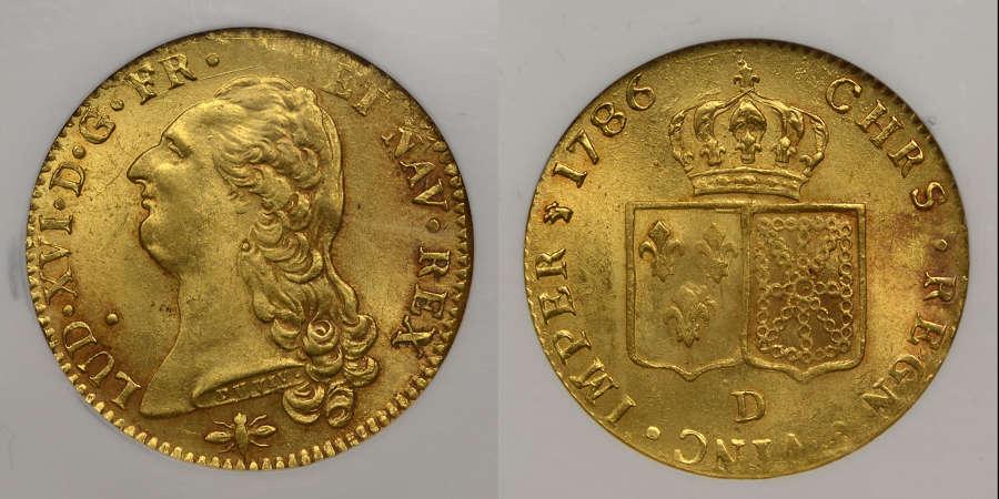 FRANCE, 1786-D GOLD DOUBLE LOUIS D'OR, LYON MINT
