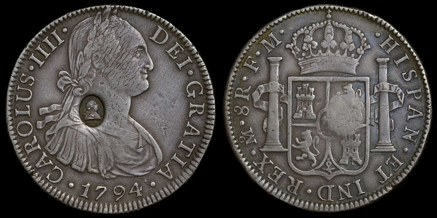 GEORGE III OVAL COUNTERMARK ON MEXICO 1794 FM SILVER 8-REALES