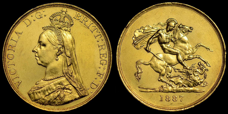 VICTORIA 1887 GOLD FIVE POUNDS