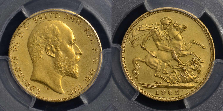 EDWARD VII 1902 GOLD MATT PROOF SOVEREIGN PR63