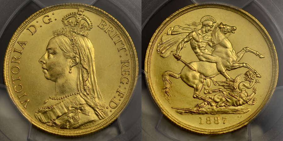VICTORIA, 1887 GOLD TWO-POUNDS MS 62