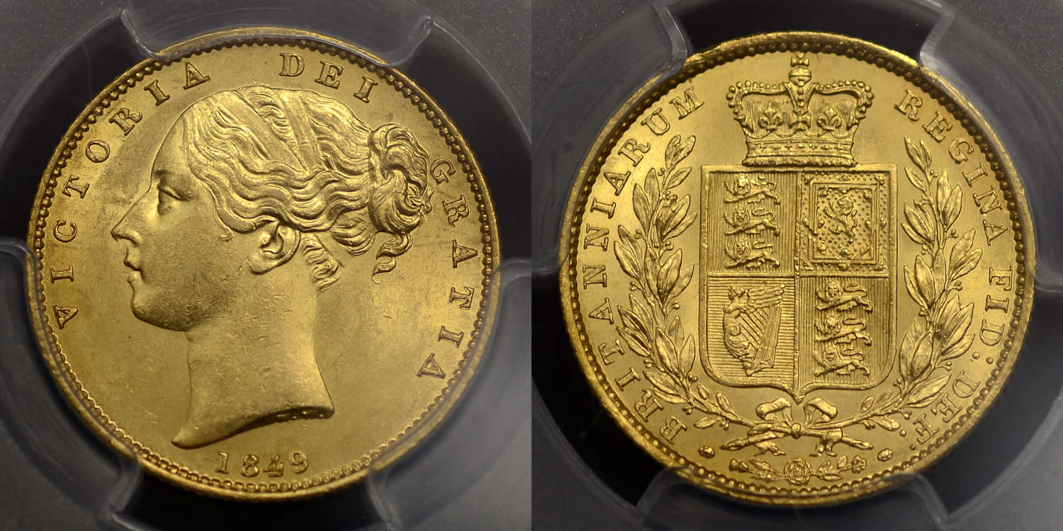 VICTORIA 1849 GOLD SOVEREIGN, SECOND HEAD, MS 62