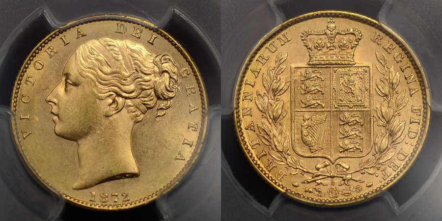 VICTORIA 1872 GOLD SOVEREIGN EX. DOURO SHIPWRECK & BENTLEY COLLECTION