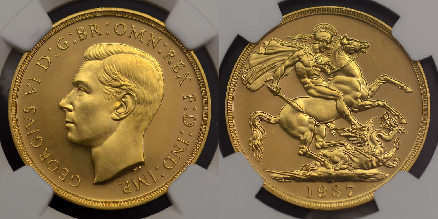 GEORGE VI, 1937 PROOF GOLD TWO POUNDS PF 63