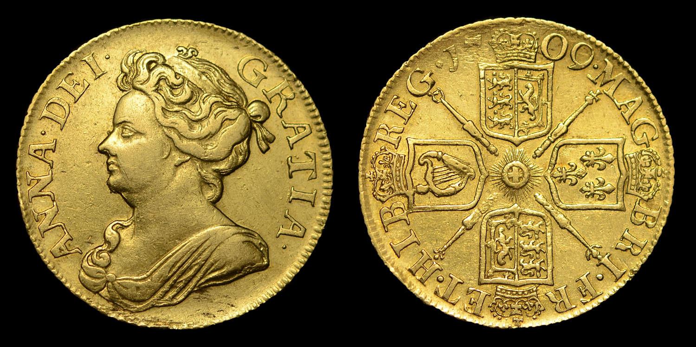 ANNE 1709 GOLD GUINEA
