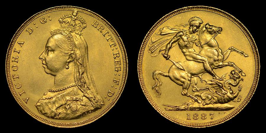 VICTORIA, 1887 GOLD SOVEREIGN