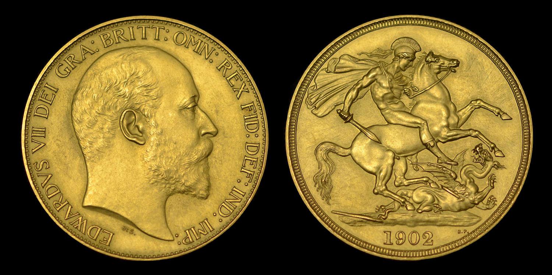 EDWARD VII 1902 GOLD MATT PROOF TWO POUNDS