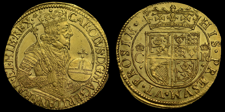 SCOTLAND, CHARLES I BRIOT GOLD UNIT, MS62* SECOND HIGHEST GRADED