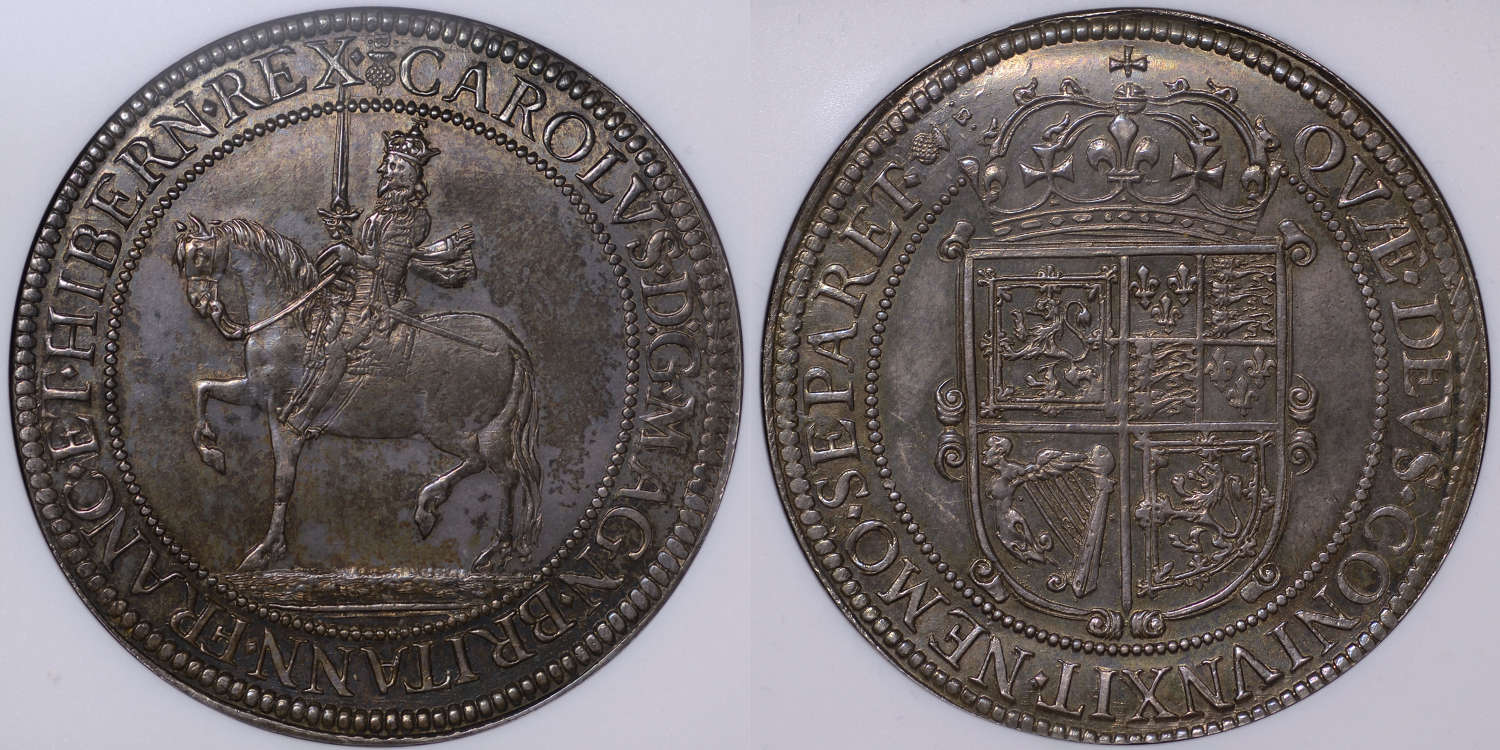 SCOTLAND CHARLES I, BRIOT'S SIXTY SHILLINGS, MS61 (FINEST KNOWN)