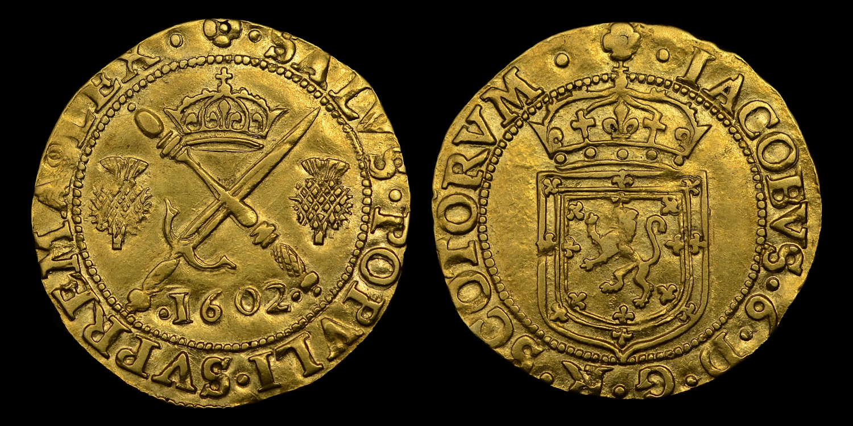 SCOTLAND, JAMES VI, GOLD SWORD AND SCEPTRE, 1602
