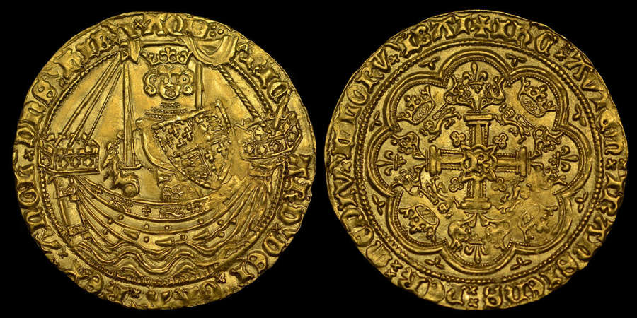 RICHARD II GOLD HAMMERED NOBLE, MS 63
