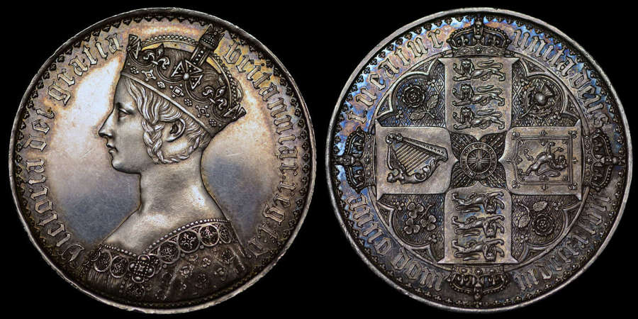 VICTORIA 1847 PROOF GOTHIC CROWN, PF 62