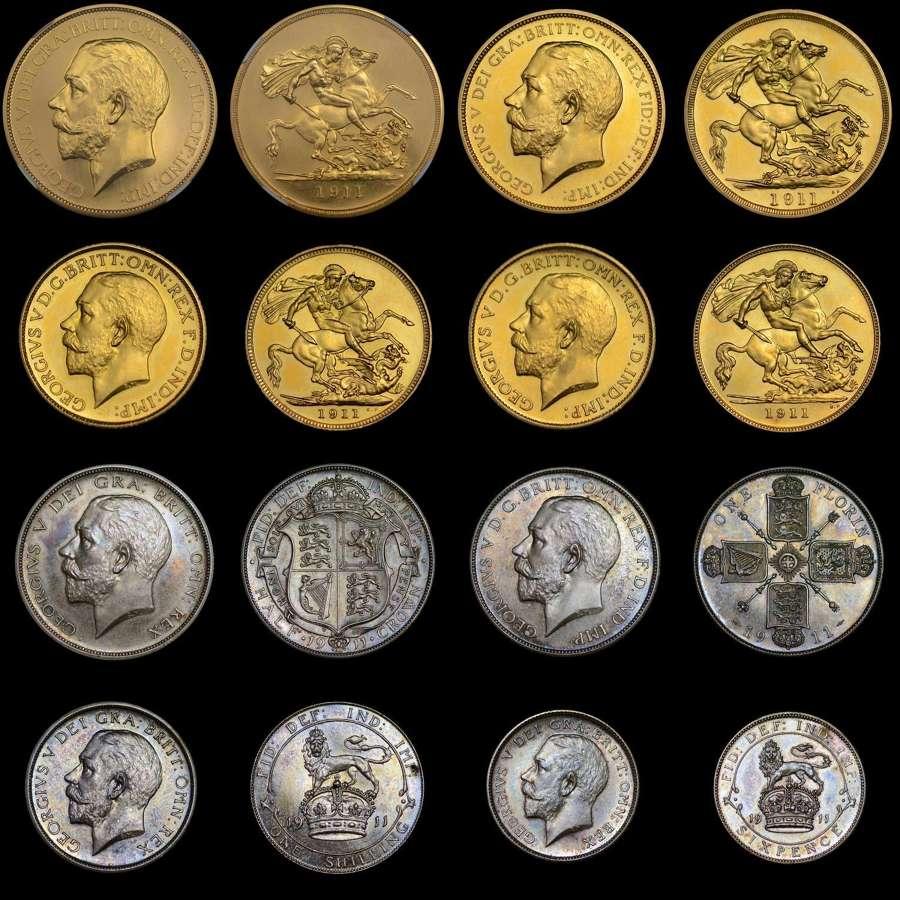 GEORGE V 1911, GOLD PROOF LONG SET